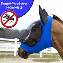 Horse Fly Mask Ear Cover Full Face Armour Mesh Pet Supplies Anti UV Horse Protector Shield Summer Breathable Anti mosquito Blue