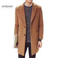 2017 New Arriaval Style men woolen overcoat fashion leisure silm solid single breasted men's medium long woolen trench coatM 3XL