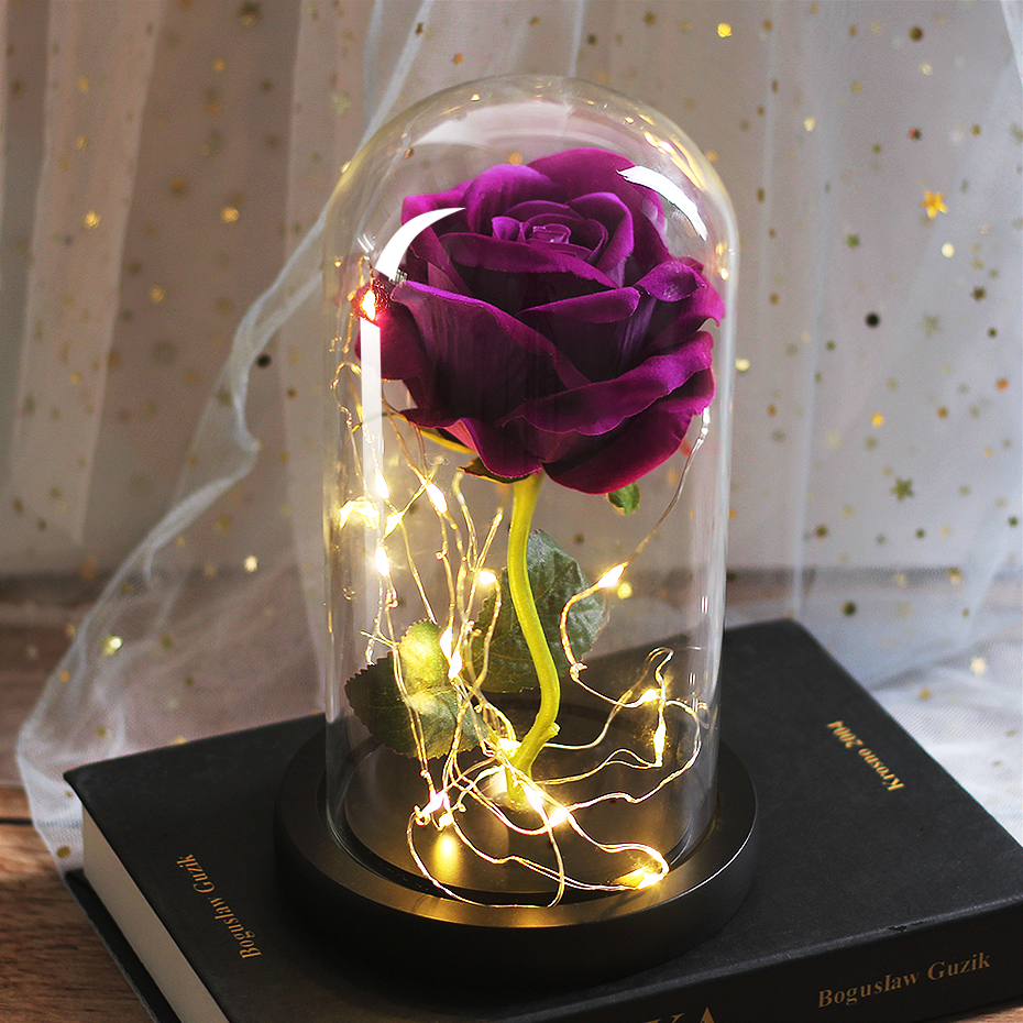 LED Eternal Flower Immortal Flora Light Up Dome Beauty and The Beast Rose In A Flask Valentine's Day Birthday Christmas Day Gift - Цвет: 092