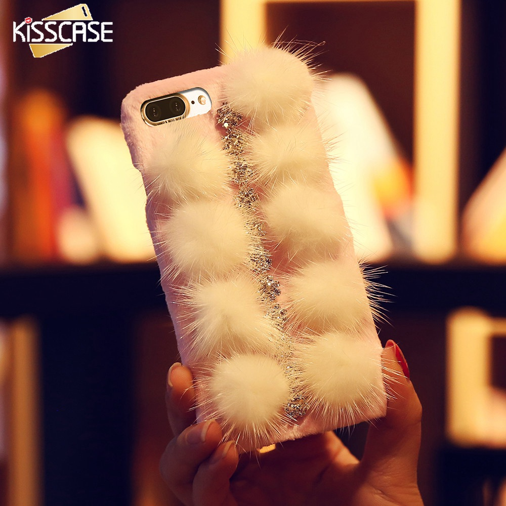KISSCASE Fur Girly Phone Case For iPhone 7 8 6 6s Plus