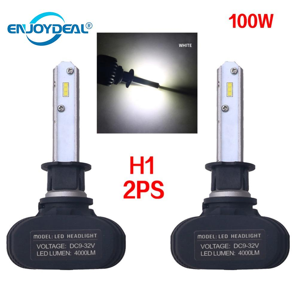 Ultra-Bright 2PCS COB H1/H3/H4/H7/H8/9005 S1 LED 9005 8000Lm Car Headlight Bulbs Fog Lights White 6500K 50W Auto Headlamp