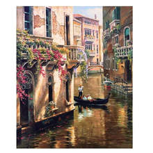 Decorative Canvas Painting By Numbers Landscape,Diy Oil Venice Travel
