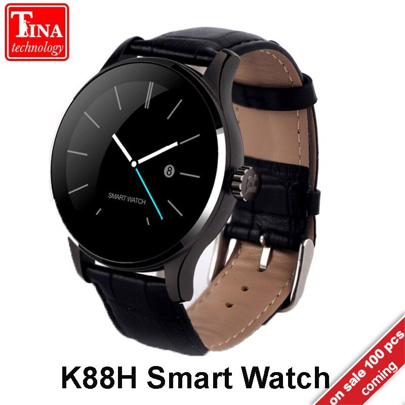 K88H Smart Watch 1,22 дюймов ips круглый экран Поддержка Спорт сердечного ритма мониторы Bluetooth SmartWatch для IOS Android