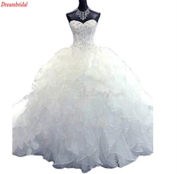 Dreambridal Luxury Embroidery Ball Gown Wedding Dress Vintage Sweetheart Organza Ruffles Vestido De Noiva Cheap Wedding