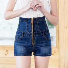 Womens summer new high waist large zipper white jeans Street hipster elastic tight size shorts