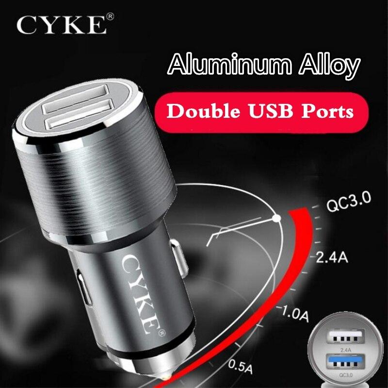 CYKE 30 W QC3.0 cargador de coche para el teléfono 2 puertos carga rápida 3,0 adaptador para Xiaomi A2 Samsung S9 más aluminio Car-cargador rápido