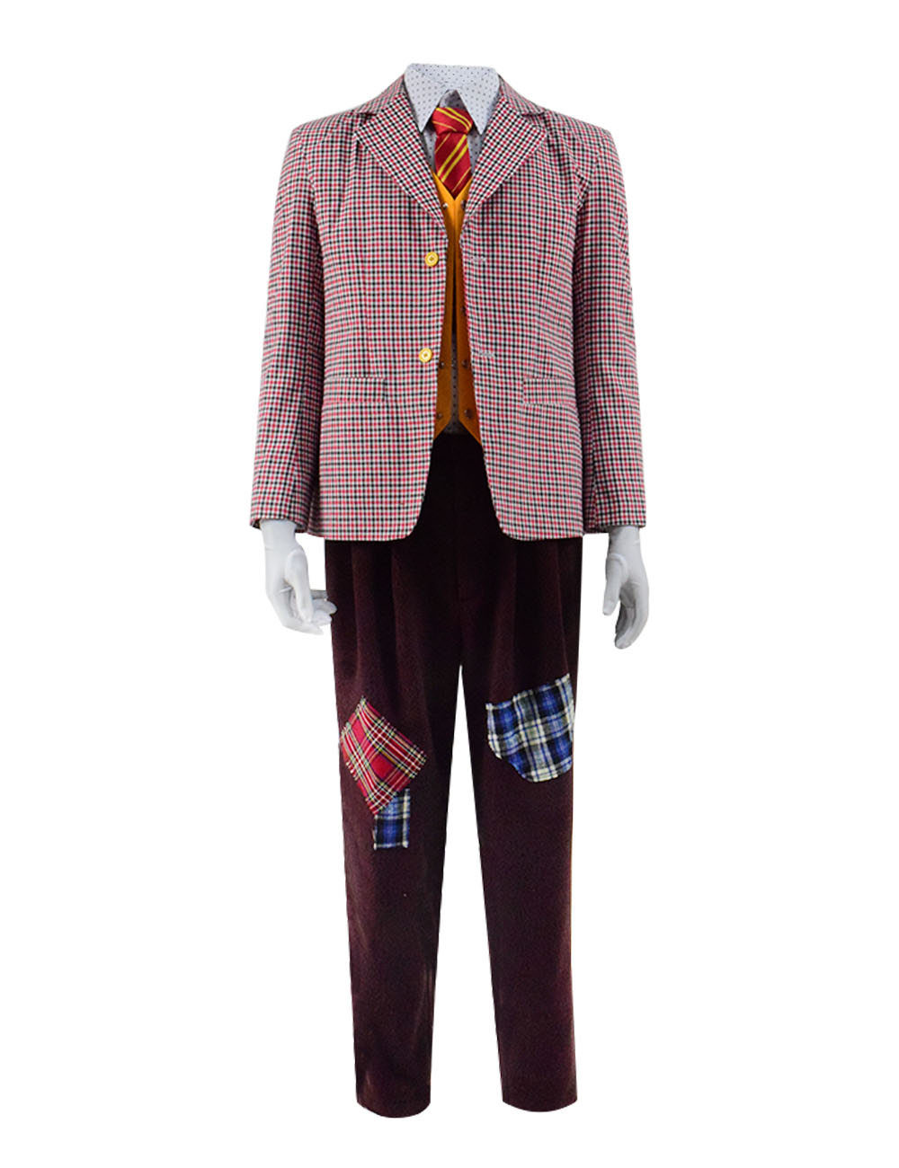 Joker 2019 Arthur Fleck Cosplay Costume Checkered Plaid Blazer Suit Full Set