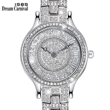 Dreamcarnival 1989 Full Crystals Ladies Clock Luxury Wrist Bracelet Watch for Women Stones Dial Roman Index Christmas Gift A8330