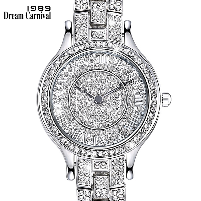 Dreamcarnival 1989 Full Crystals Ladies Clock Luxury Wrist Bracelet Watch for Wo