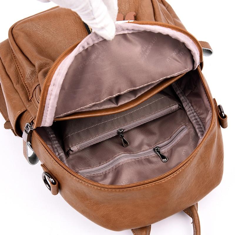Image 5 - 2019 Women Backpack high quality Leather  Fashion school  Backpacks Female Feminine Casual Large Capacity Vintage Shoulder  BagsBackpacks