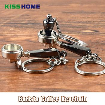 Kreatywny Barista ubijak do kawy brelok uchwyt maszyny Moka dzban brelok przenośny do kawy Espresso akcesoria prezent tanie i dobre opinie KH-548 Metal kisshome Sześć-częściowy zestaw