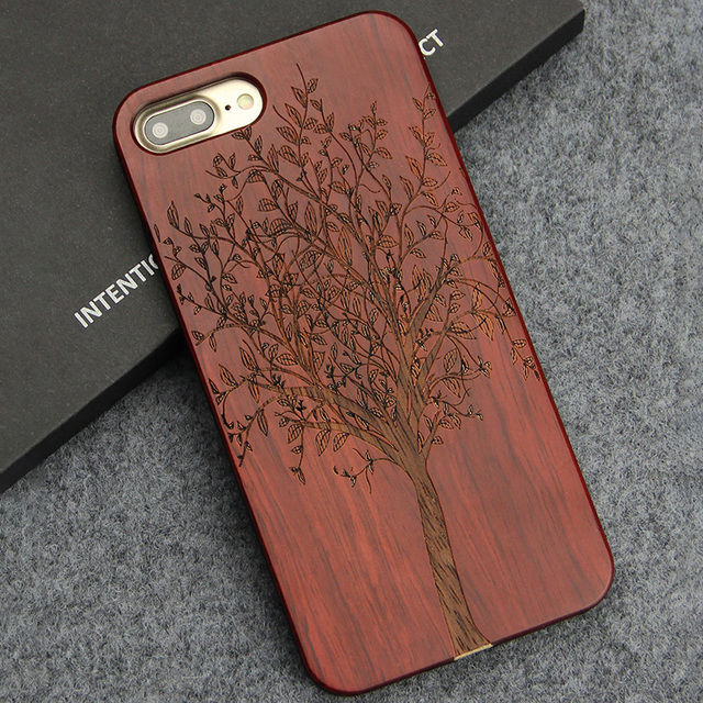 best loved de67b 7c2bb US $7.59 24% OFF|For Apple iPhone 8 Plus Case For iPhone 7 Plus Cover  Designer Luxury Phone Cases Engraving Hard Wood Cover For iPhone 7 8 Case  -in ...