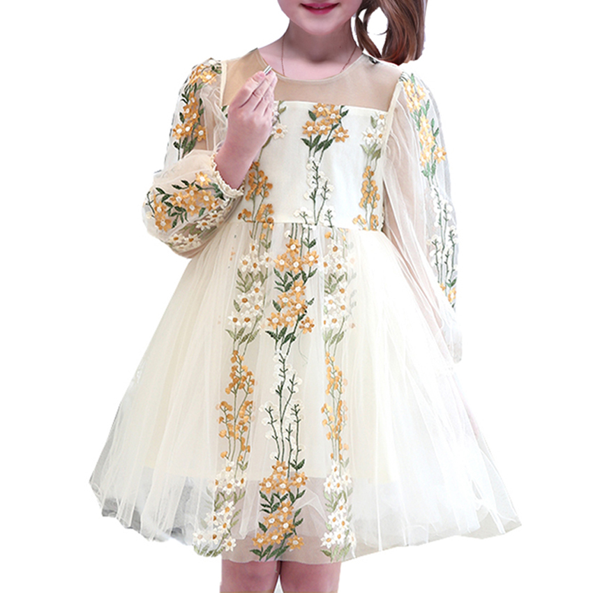 Girls Dress Baby Kids Summer Princess Dress 2018 New Arrival Cute Embroidery Ball Gown Floral Dress Children Clothes 6 8 10 Year new arrival fashion summer girls kids sleeveless flower dress elegant sweet children girls knee length ball gown dress