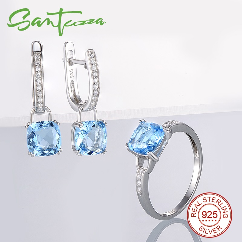 SANTUZZA Jewelry Sets for Women Bridal Shimmering Blue Crystal Jewelry Set Earrings Ring 925 Sterling Silver Fashion Jewelry Set ethiopian wedding jewelry sets blue rhinestone crystal for women 925 sterling silver earrings ring pendant bridal jewelry set