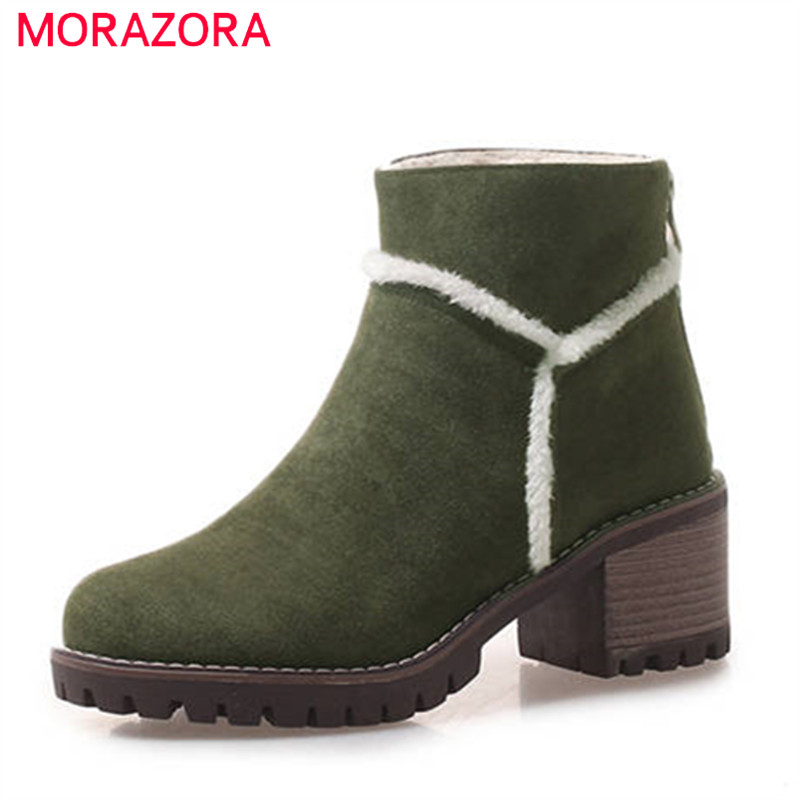 MORAZORA 2018 hot sale boots women round toe zipper ankle boots flock simple winter snow boots high heels platform shoes woman MORAZORA 2018 hot sale boots women round toe zipper ankle boots flock simple winter snow boots high heels platform shoes woman