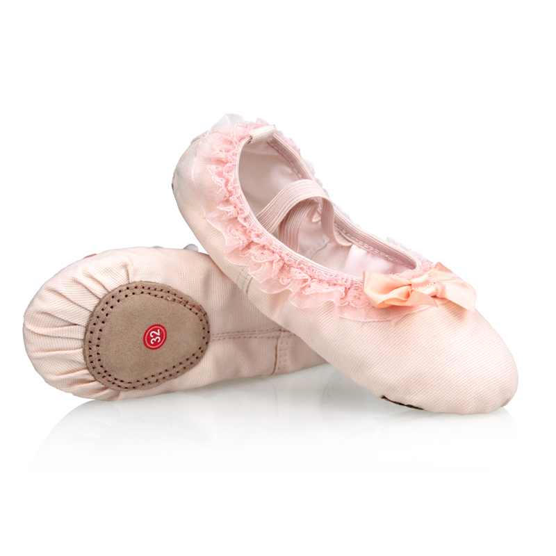 High Quality Lace Canvas Soft Sole Girls Children Kids Ballet Dance Shoes
