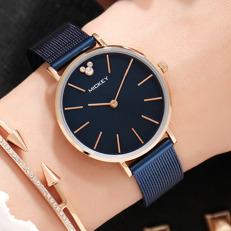 fashion woman wristwatches quartz stainless steel ladies watch Disney brand Mickey mouse watches waterproof Citizen movement woman bracelet watches rose gold disney brand women clocks stainless steel mickey mouse luxury diamond 30m waterproof wristwatch