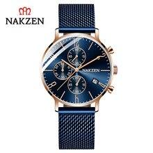 цена NAKZEN genuine simple casual men's watch true three-eyed six-needle calendar waterproof steel mesh belt онлайн в 2017 году