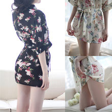 Night Bath Robe Fashion Dressing Gown For Women night dress Chiffon Sleepwear Robe Floral Bathrobe Short Sexy Robes(China)
