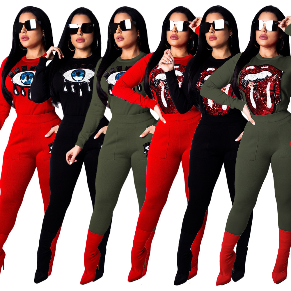 New Winter Sporty Women's Tracksuits Sequins Tongue O-neck Top Pencil Long Pants Two Pieces Sets Fashion Outfits Overalls S3485