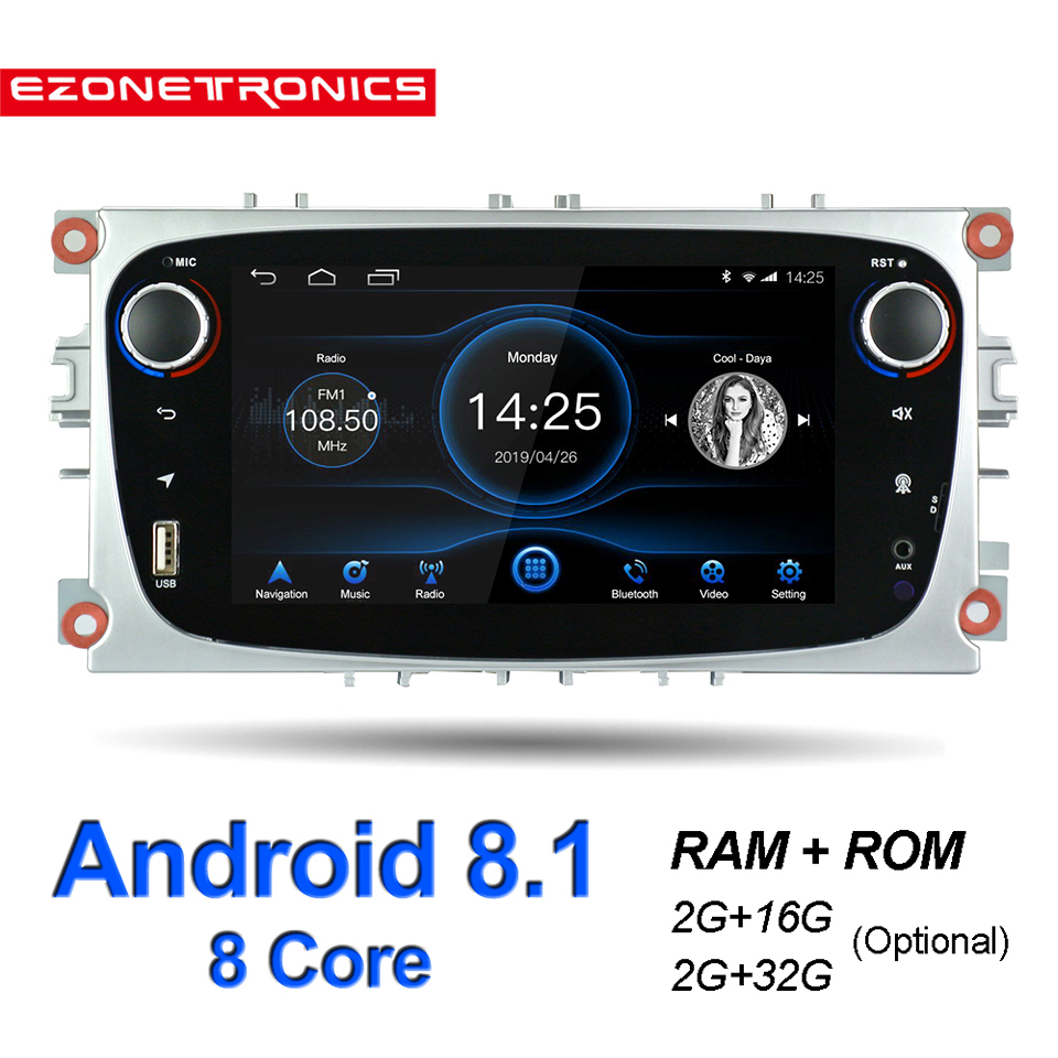Android 8.1 for Ford Focus Mondeo Galaxy S-max Car Stereo Autoradio 2GB DDR3 Octa Core 7Screen Touch GPS Bluetooth Headunit WiFi image