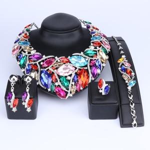 Image 2 - OUHE אופנה הודי תכשיטי בוהמיה קריסטל שרשרת סטי כלה תכשיטי כלות מסיבת חתונת אביזרי קישוט