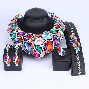 Image 2 - Ouheファッションインディアンジュエリーボヘミアクリスタルネックレスセットブライダルジュエリー花嫁パーティーウェディングアクセサリーデコレーション