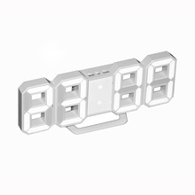 3D Digital Wall Clock Led Electronic Alarm Clock Large Digits for Easy Viewing Brightness adjustable for light Sleeper USB Power