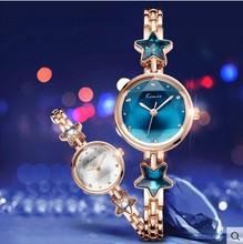 KIMIO Señoras de la Marca de Relojes de lujo de Las Mujeres Estrella de la suerte Pulsera de Oro Rosa Reloj de Las Mujeres Vestido de Cuarzo Reloj Relogio Femenino Feminino