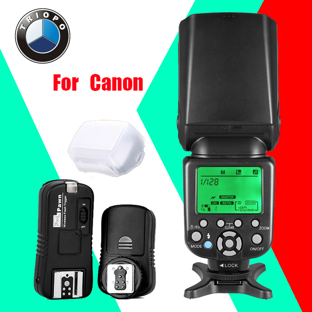TRIOPO TR-586EX C Wireless TTL Flash Speedlite + Pixel TF-361 Flash Trigger for Canon EOS 5D Mark II 5D3 7D 6D 70D 650D 5D3 60D triopo wireless ttl flash speedlite speedlight tr 586ex c for canon eos 5d mark ii 6d 1200d dslr camera as yongnuo yn 568ex ii