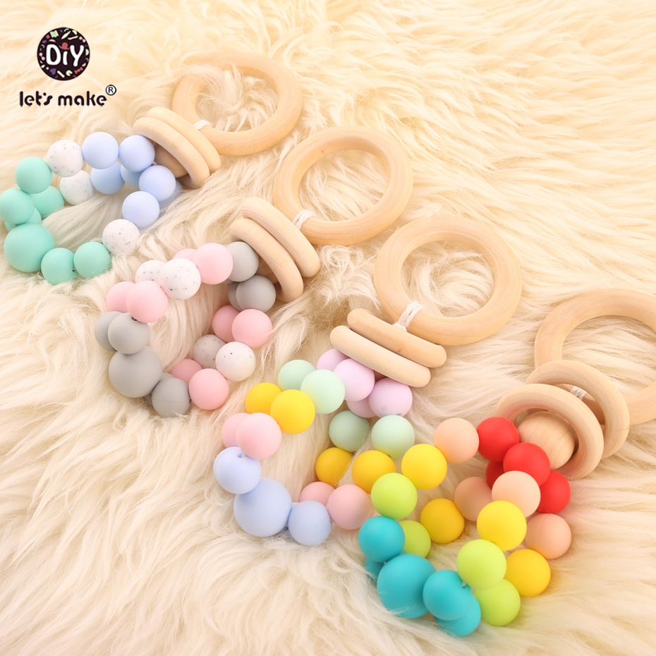 Lets make 4PCS Baby Toys Food Grade Silicone Teether Nursing Rattle Teething Play Gym Car Seat Baby Montessori Toy For Children