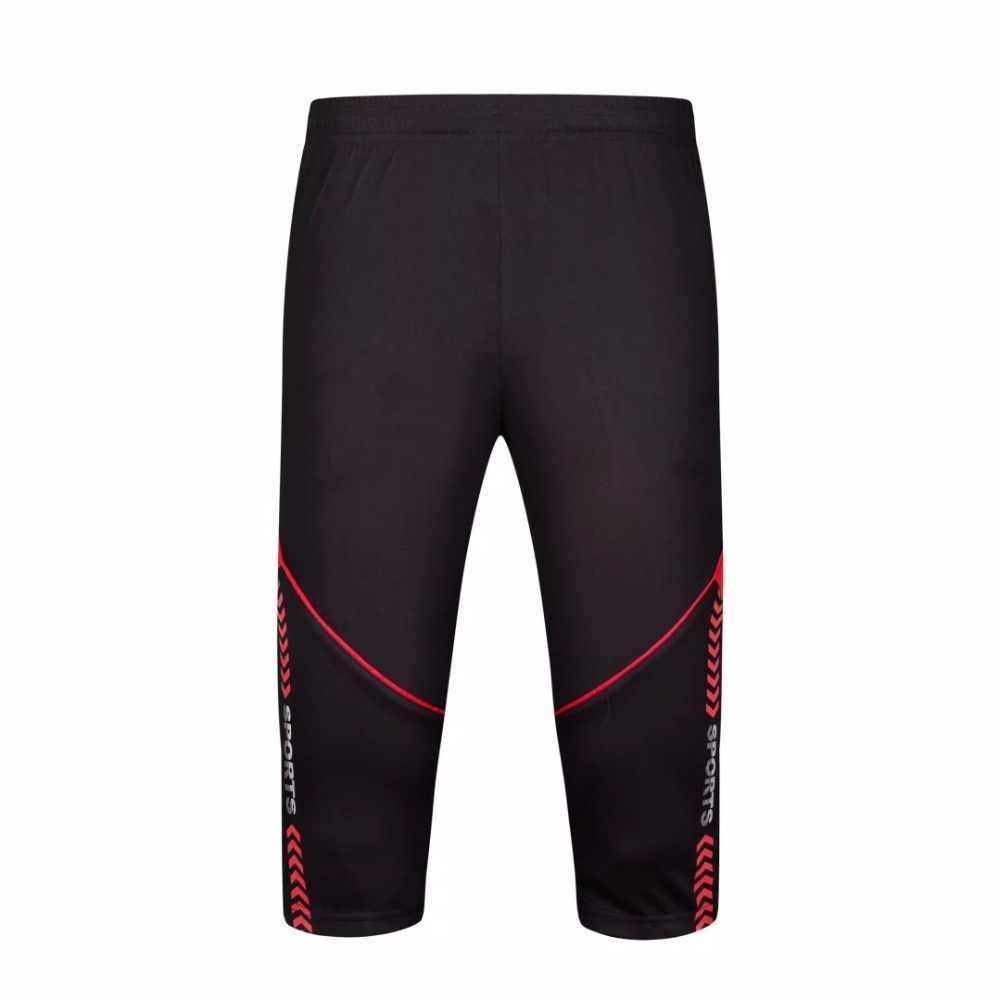 2018 nowych mężczyzna piłka nożna spodnie treningowe Joggings piłka nożna przycięte 3 4 cienkie nogi spodnie męskie sportowe do biegania spodnie fitness spodnie dresowe