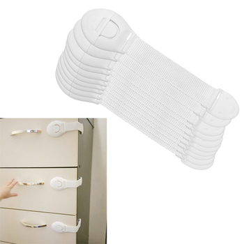 10Pcs/lot Baby Safety Protector Child Cabinet locking Plastic Lock Protection of Children Locking From Doors Drawers 1