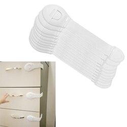 10 pçs/lote Protetor da Segurança Do Bebê Proteção de Bloqueio Gabinete Criança bloqueio de Plástico de Crianças De Travamento De Portas Gavetas