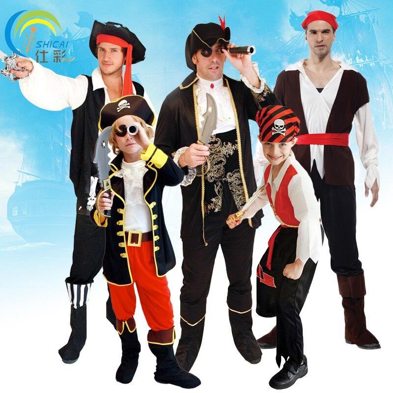 Pirata Capitán Disfraz Traje Vestido para Adulto y Niño Hombres y Mujeres  para Fiestas Baile Cosplay Halloween Navidad Carnaval Superhéroe Roleplay facf71796f65