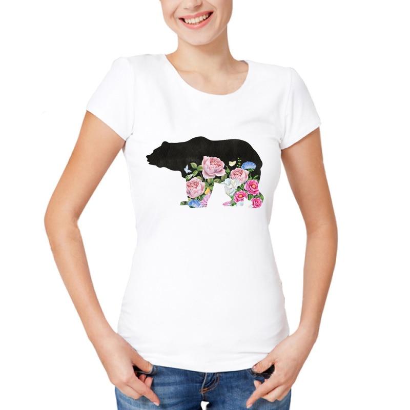 Newest 2019 Fashion Cute Bear With Flower Design T Shirt ...