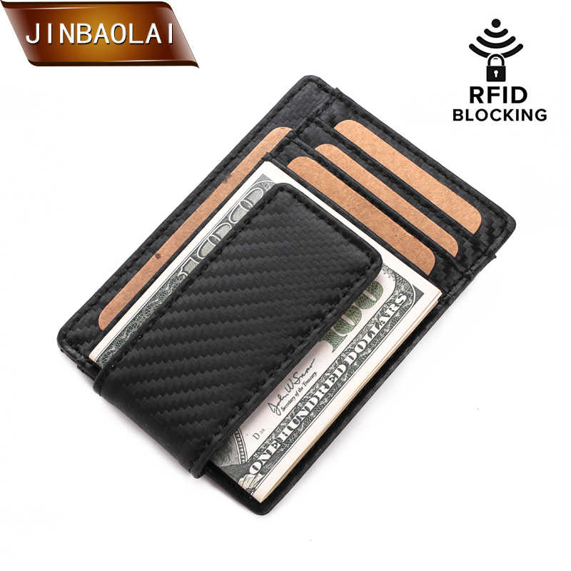 JINBAOLAI Mens Wallet Slim Genuine Leather Magnetic Money Clip Front Pocket Wallet RFID Blocking Strong Magnet thin Wallets