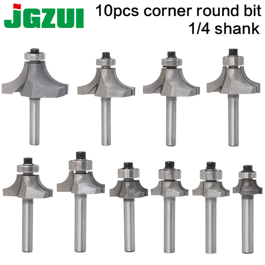 10pcsBit Round Over Edge Forming Router Bit Set -1/4 Shank