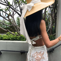 Fashion Lafite Hat With Long ribbon Women Sun Visor Sunhat Panama Boater Large Hat Sun Protection Foldable Straw Cap Cover z0605