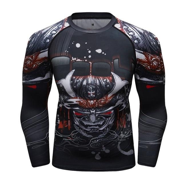a9bfc20251f38 Nova Compressão Camisa Rashguard Manga Comprida 3D Impressão Jiu Jitsu  camisetas Calças Justas Musculação Crossfit MMA