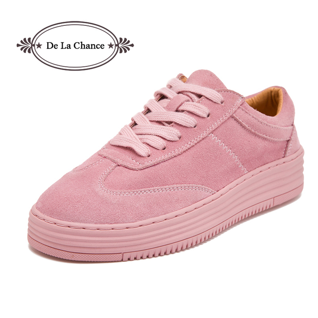 764c114daa9 De La Chance Spring Women Flats Shoes Suede Leather Platform Shoes Ladies  Casual Shoes Lace Up Girls Pink Creepers Moccasins