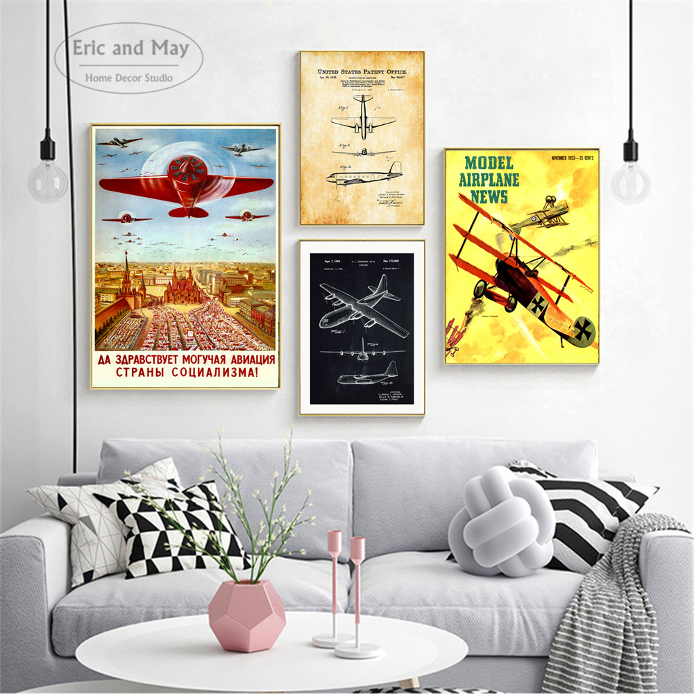 Vintage Russian USA WW2 Plane Canvas Posters And Prints Home Decoration Cloth Fabric Wall Art Print Painting Quadro