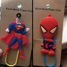 1 Pcs Hot Sale Cartoon Cute PVC Hero Spider-Man Captain America Book Mark Paper Clip For Student Fans Gift Stationery(China)