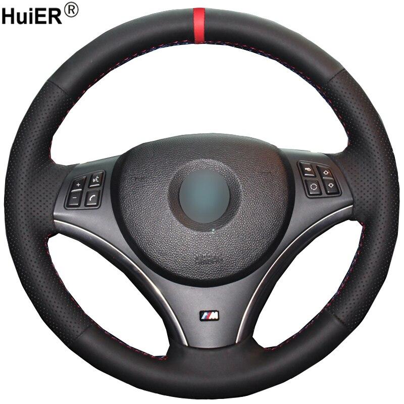HuiER Hand Sew Car Steering Wheel Cover Non-slip Red Marker For BMW E90 320i 325i 330i 335i E87 120i 130i 120d (No Drum kits )