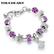 Новый дизайн toucheart модный Пурпурный Цветок браслеты шармы