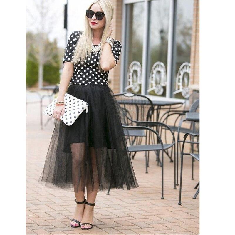 Black Tulle Skirts A Line Short Inside Long Outside Tea Length Skirts Casual Women Skirts Custom Made a-line