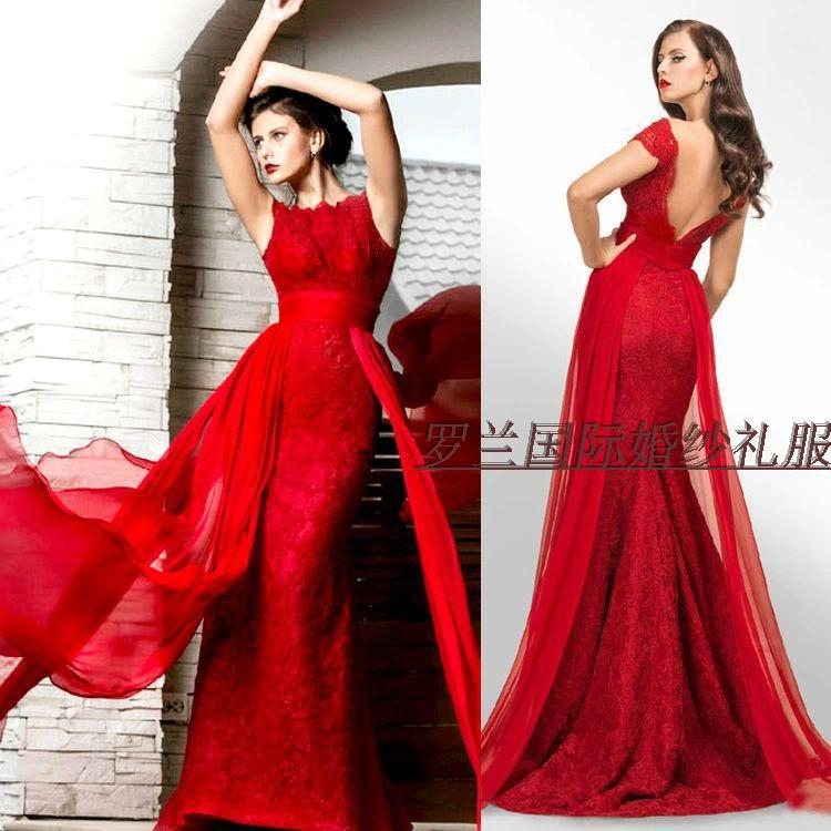 free Shipping vestido de festa longo robe de soiree 2014 new fashion sexy backless red long lace formal party gown evening Dress