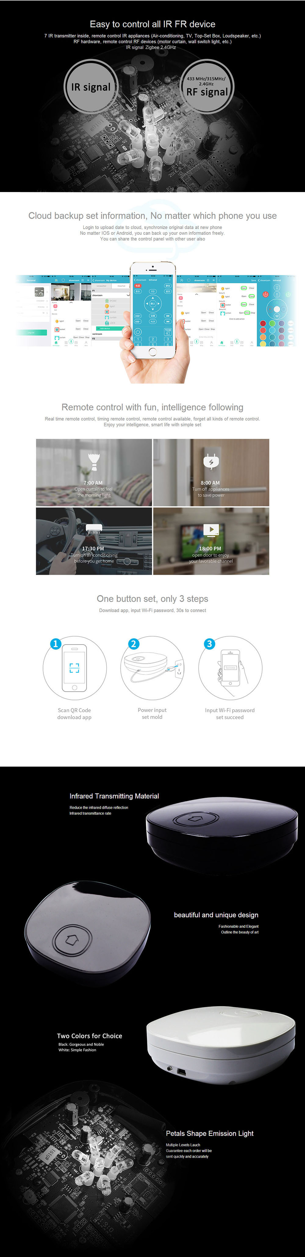 Smart Home Automation WiFi+IR+RF+Zigbee 315MHz 433MHz 2.4GHz Smart House Switch Universal Intelligent Remote Controller
