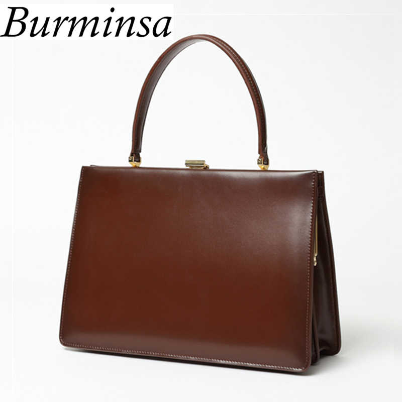 Burminsa Retro Clasp Ladies Genuine Leather Bags Medium Designer Handbag  High Quality Female Purse Tote Bags 30f4a42d0de6b