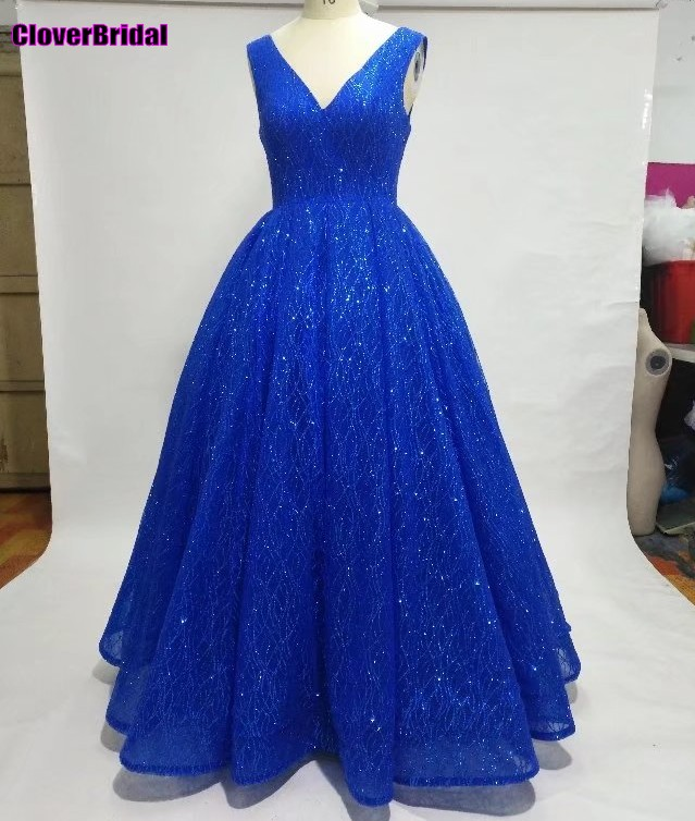 Deep V Neck mangas vestido longo azul de festa royal casamento Andar de comprimento com glitter royal V neck dazzling prom dress